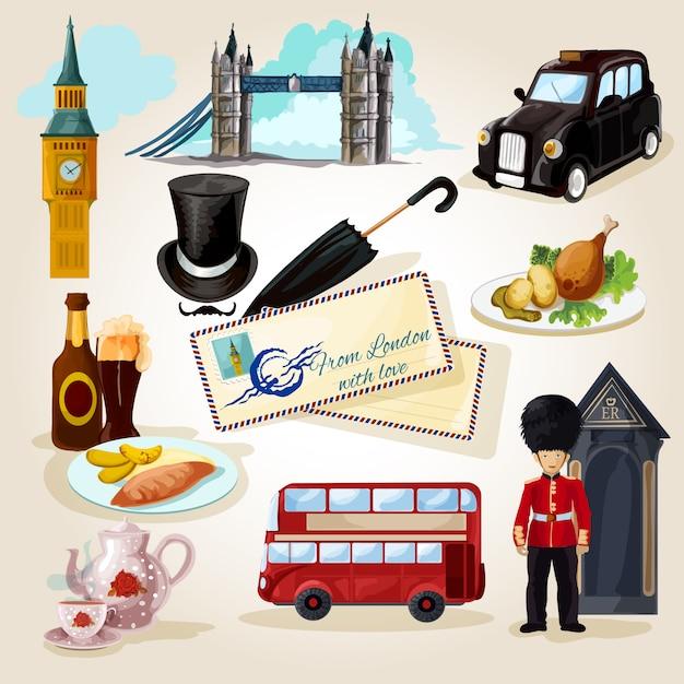 London toeristische set Gratis Vector