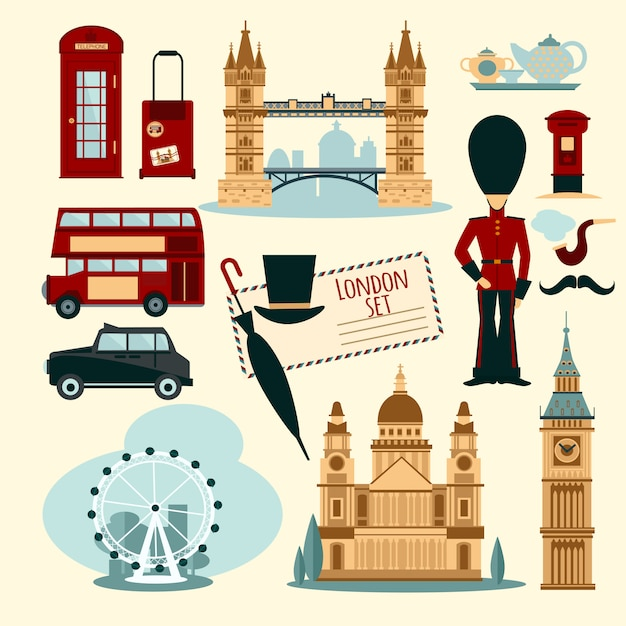 London toeristische set Gratis Vector