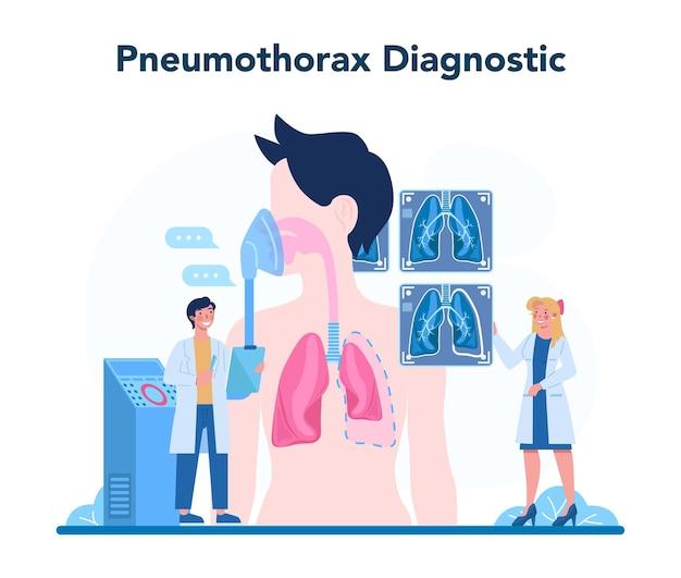 Longarts. idee van gezondheid en medische behandeling. gezond longsysteem. pneumothorax-behandeling en diagnostiek. geïsoleerde vectorillustratie Premium Vector