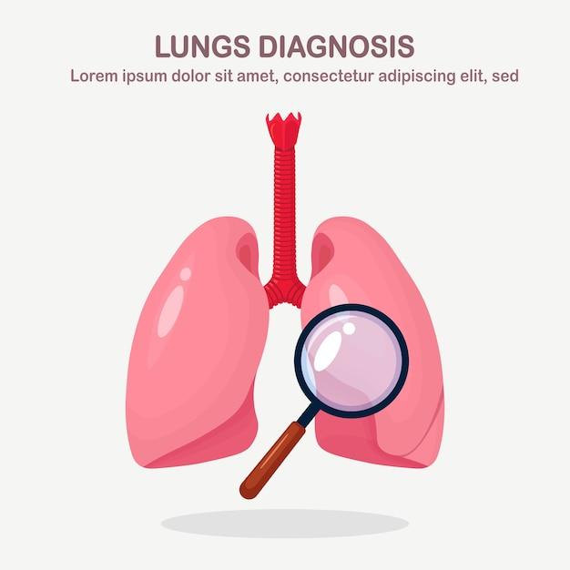 Longen met vergrootglazen. diagnose, onderzoek van organen. fluorografie, röntgenscreening Premium Vector