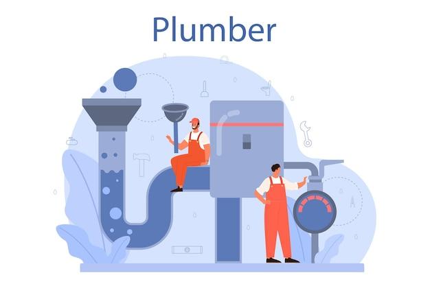 Loodgieter. loodgietersdienst, professionele reparatie en reiniging van sanitair en badkamerapparatuur. vector illustratie. Premium Vector