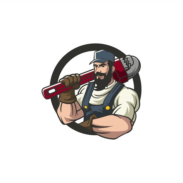 Loodgieter mascotte ontwerp Premium Vector