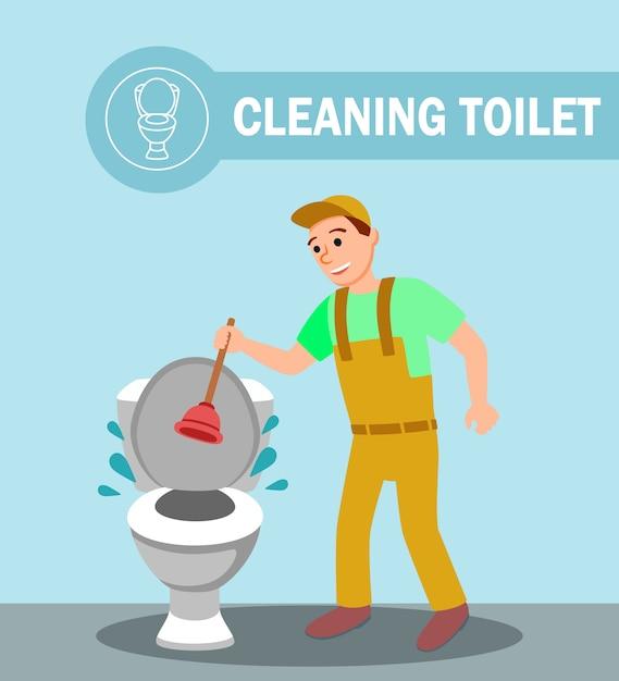 Loodgieter met plunjerreparatie verstopte toiletpot Premium Vector