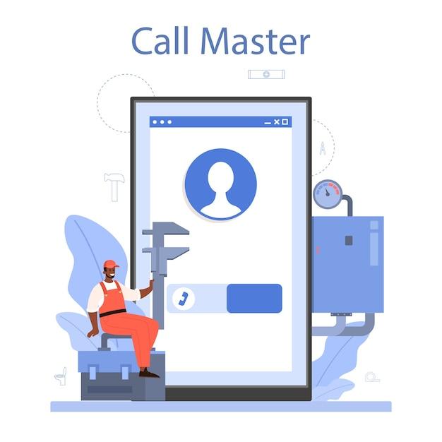 Loodgieter online service of platform. loodgietersdienst, professionele reparatie en reiniging van sanitair en sanitair Premium Vector
