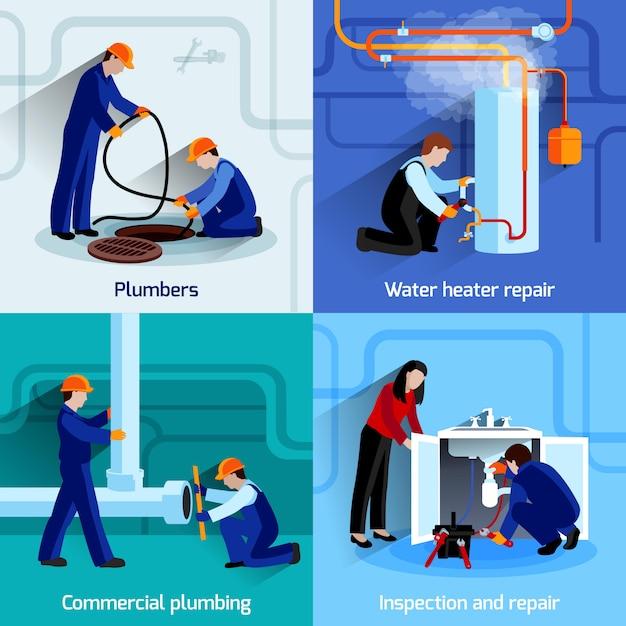 Loodgieter ontwerpconcept set Gratis Vector