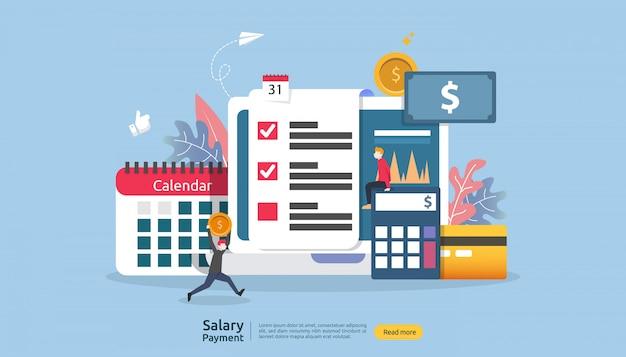 Looninkomen concept. salarisuitbetaling jaarlijkse bonus. uitbetaling met papier, rekenmachine en personage. Premium Vector