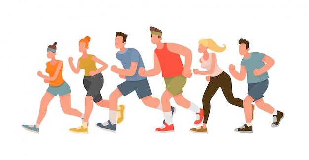 Lopende mensen. marathonloop Premium Vector