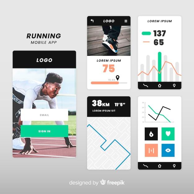 Lopende mobiele app-infographic sjabloon Gratis Vector