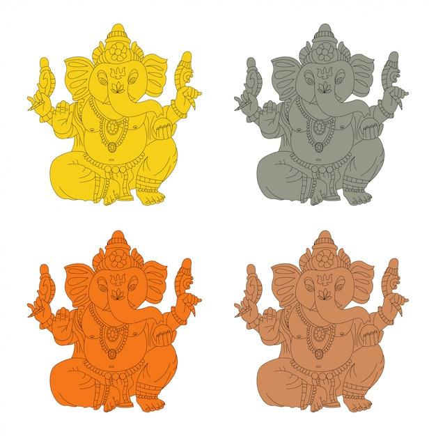Lord ganesha vector cartoon set van goud, steen, brons en houten idool. Premium Vector