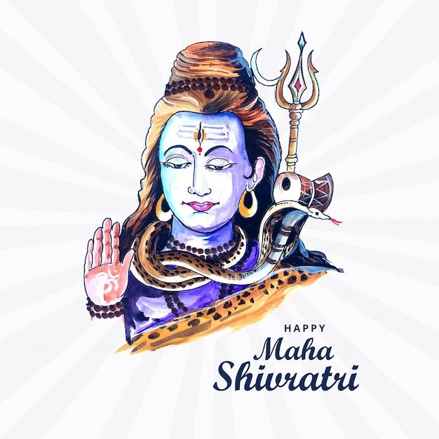 Lord shiva met indian god of hindu voor maha shivratri Gratis Vector