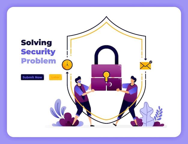 Los digitale veiligheidsproblemen op met de beste samenwerking en afhandeling. Premium Vector