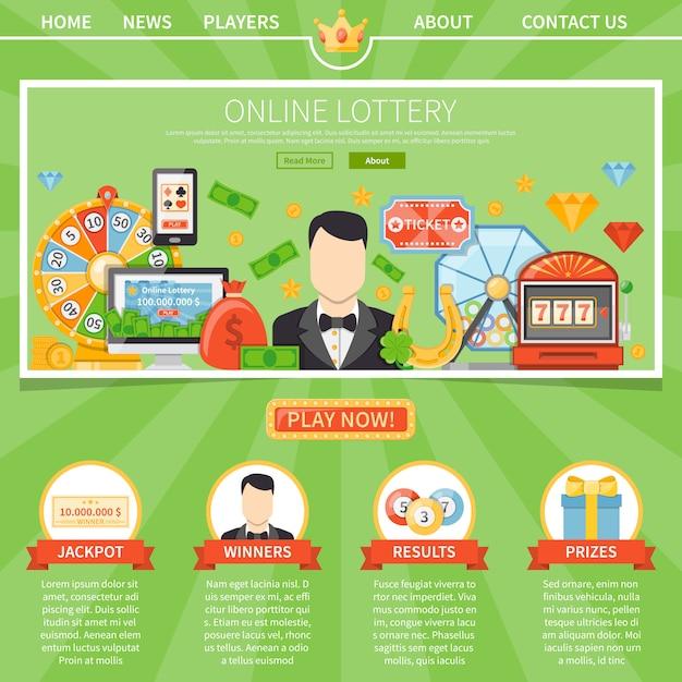 Loterij en jackpot één paginasjabloon Gratis Vector