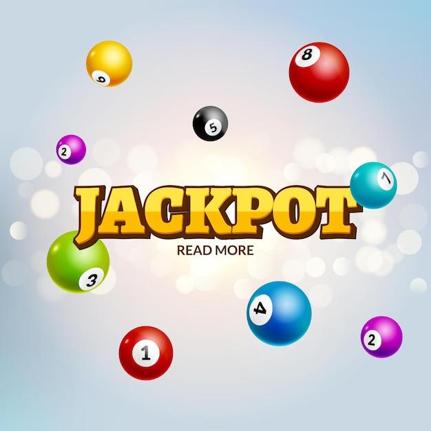Loterij jackpot bingo kleurrijke achtergrond. lotto gokken vrijetijdsbal. jackpot winnaar. Premium Vector