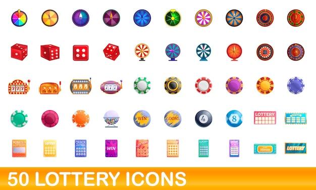 Loterij pictogrammen instellen. cartoon illustratie van loterij pictogrammen instellen op witte achtergrond Premium Vector
