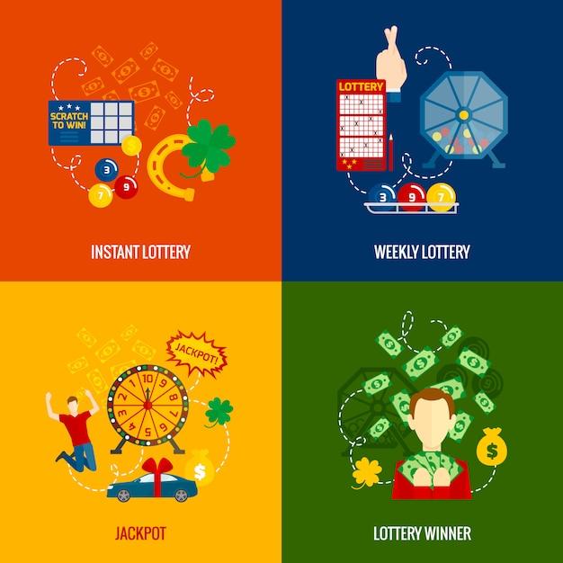 Loterij plat pictogrammen Gratis Vector