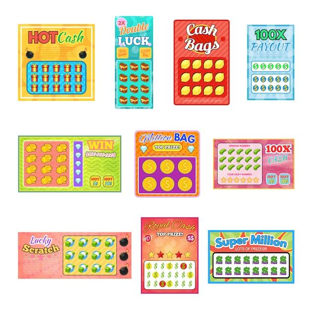 Loterij ticket gelukkige bingokaart winnen kans lotto spel jackpot set illustratie loten op witte achtergrond Premium Vector