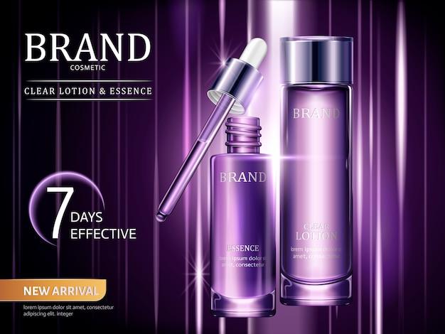 Lotion- en essentie-advertenties, cosmetische containers in paars met lichtstralen in de afbeelding Premium Vector