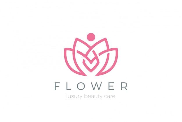Lotus flower logo icoon. lineaire stijl Gratis Vector