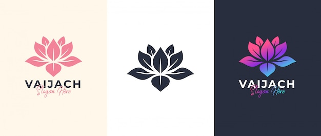 Lotus logo-ontwerp Premium Vector