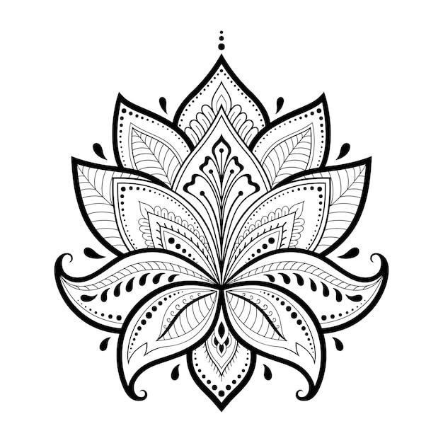 Lotus mehndi bloemenpatroon voor henna-tekening en tatoeage. decoratie in oosterse, indiase stijl. doodle sieraad. overzicht hand tekenen. Premium Vector