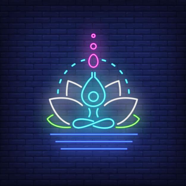Lotusbloem en cijfer die neonteken mediteren. meditatie, spiritualiteit, yoga. Gratis Vector