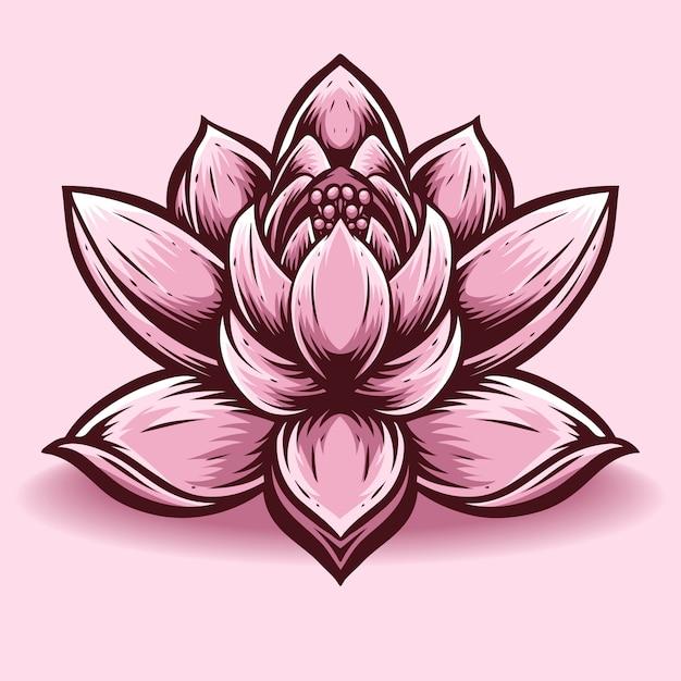 Lotusbloem vector en logo Premium Vector
