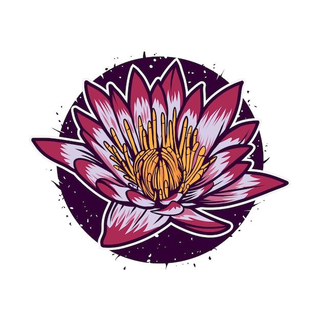 Lotusbloem vector illustratie met cirkel kleurrijke geïsoleerd Premium Vector