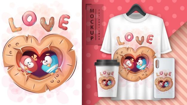 Love bird - poster en merchandising. Gratis Vector