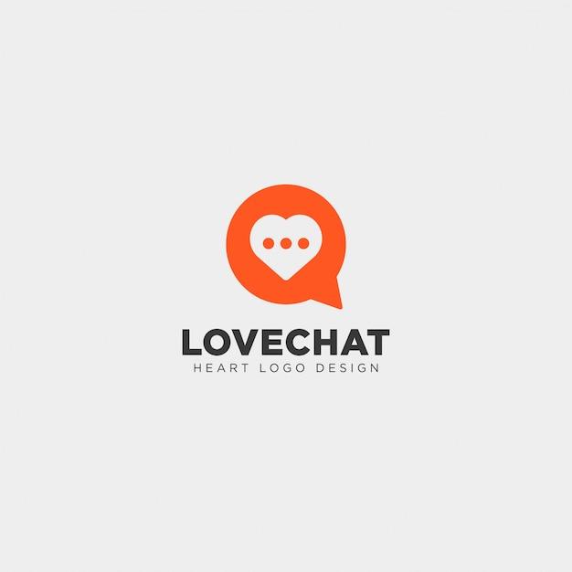 Love chat eenvoudige creatieve logo sjabloon Premium Vector