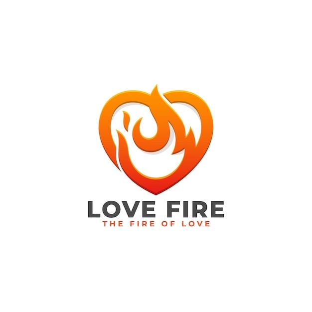 Love fire - heart power logo sjabloon Premium Vector