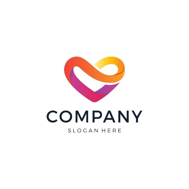 Love heart logo-ontwerp Premium Vector
