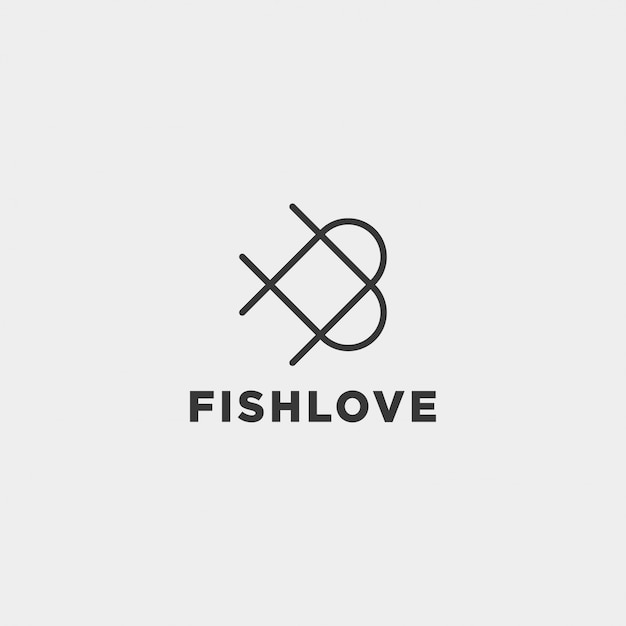 Love vis logo ontwerp Premium Vector