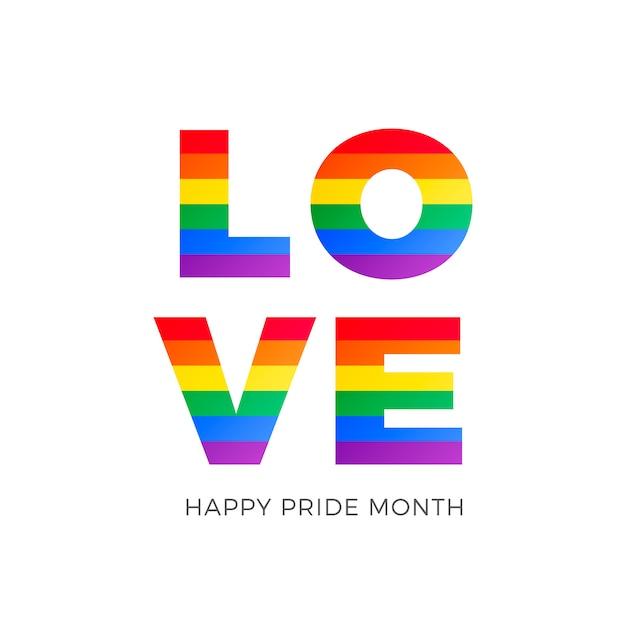 Love word with gay pride flag Gratis Vector
