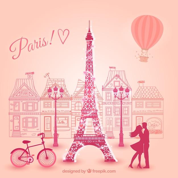 Lovers in parijs Gratis Vector