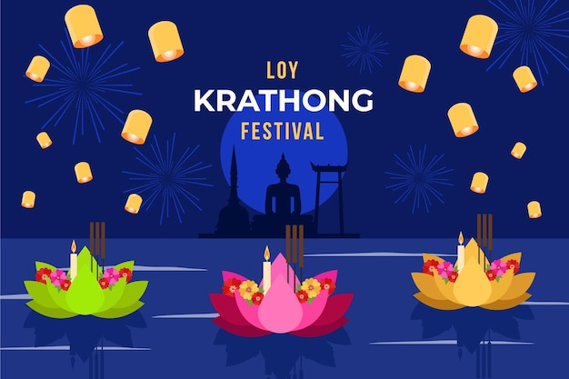 Loy krathong in plat ontwerp Gratis Vector