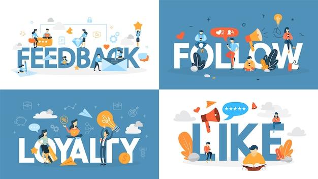 Loyaliteit concept banner set. idee om een relatie met de klant op te bouwen, feedback te krijgen en een positieve beoordeling te krijgen. communicatie met de consument. flat vector illustratie Premium Vector