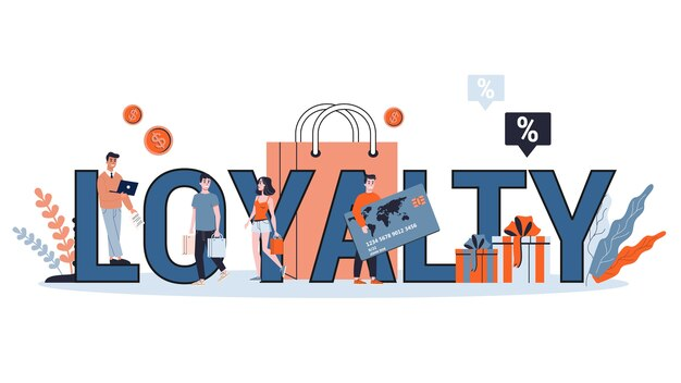 Loyaliteit en klantbehoud concept. idee van communicatie en relatie met klanten. illustratie Premium Vector