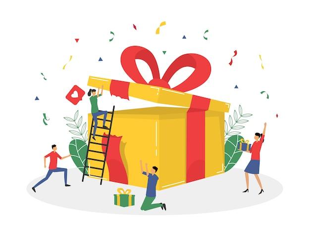 Loyaliteitsprogramma en het krijgen van cadeau en beloning vlakke afbeelding Premium Vector