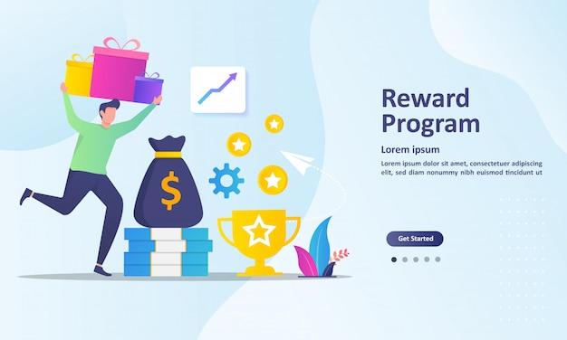 Loyaliteitsprogramma en ontvang beloningen bestemmingspagina sjabloon Premium Vector