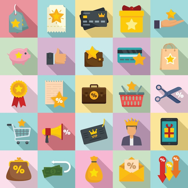 Loyaliteitsprogramma iconen set, vlakke stijl Premium Vector