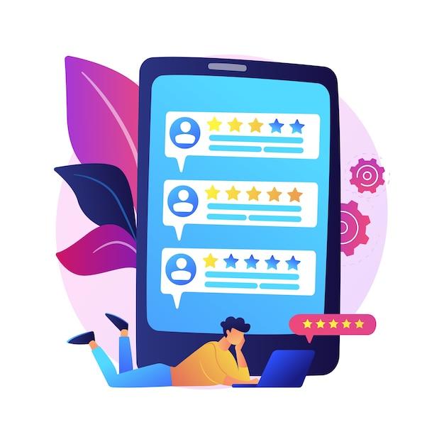 Loyaliteitssterren. klant- en gebruikersrecensies. website ranking systeem, positieve feedback, stemmen evalueren. webpagina met gerangschikte persoonlijke profielen Gratis Vector