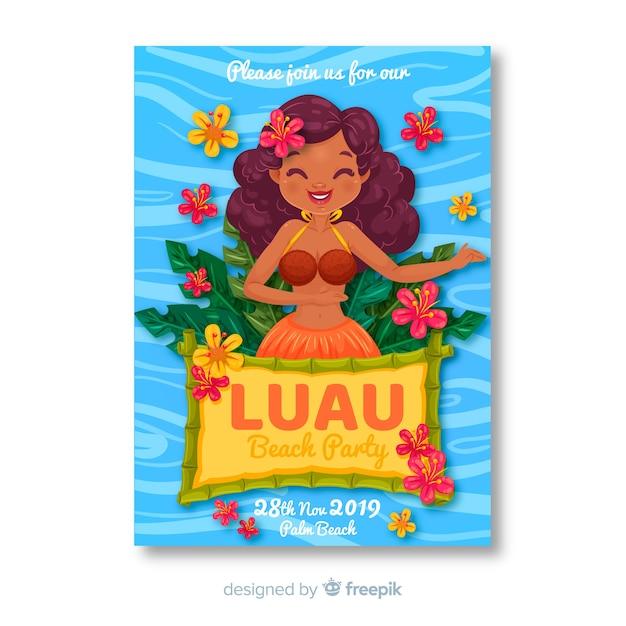 Luau beach party banner Gratis Vector