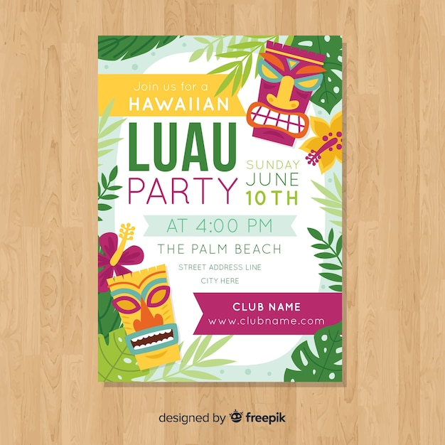 Luau party flat kleurrijke poster sjabloon Gratis Vector