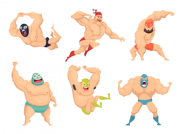 Lucha libre-personages, mexicaanse worstelaars in masker macho libros martial cartoon mascotte Premium Vector