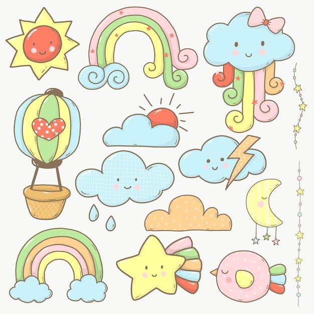 Lucht en wolk collectie cartoon schattig voor kinderen Premium Vector