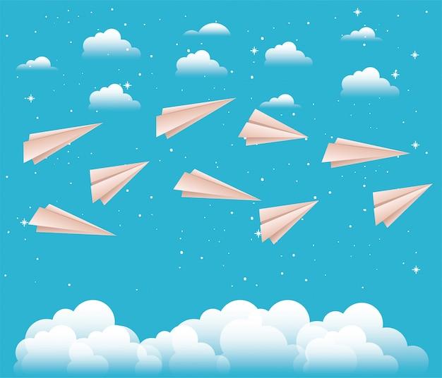 Lucht met papieren vliegtuigen Premium Vector