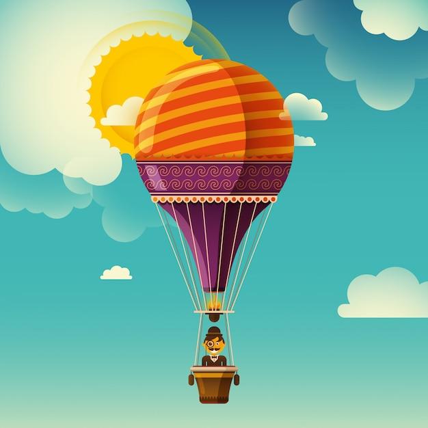 Luchtballon illustratie Premium Vector