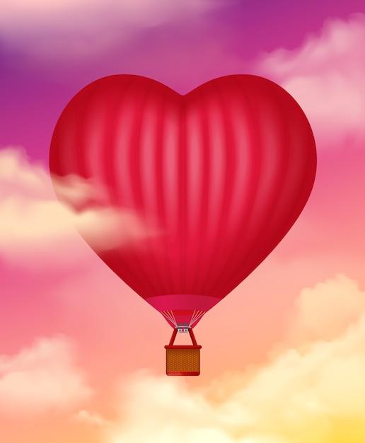 Luchtballon in hartvorm realistisch met wolken Gratis Vector