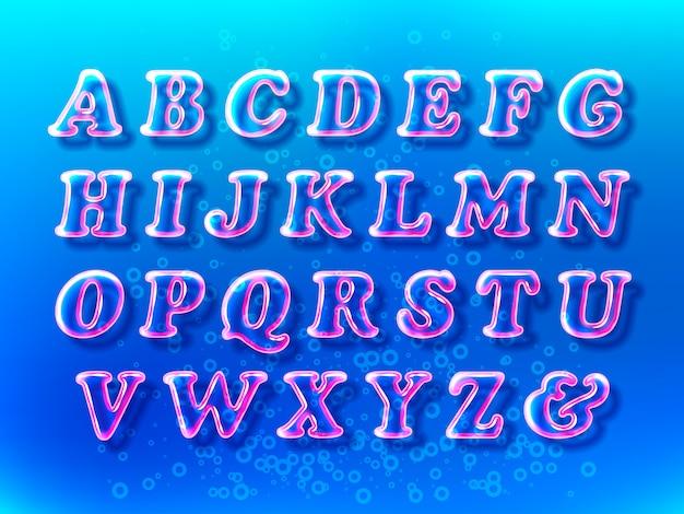 Luchtbel alfabet lettertype met transparantie en schaduwen op de blauwe water-ruimte Premium Vector