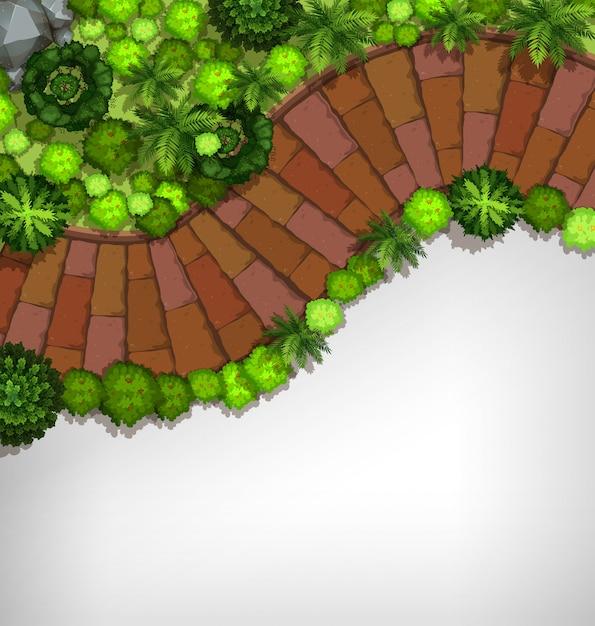 Luchtfoto van de tuin grens Gratis Vector